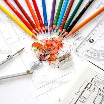 Workplace of designer interior