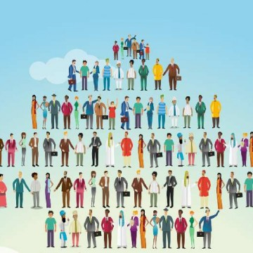 Illustrative image of people standing in arrow shape representing development and teamwork